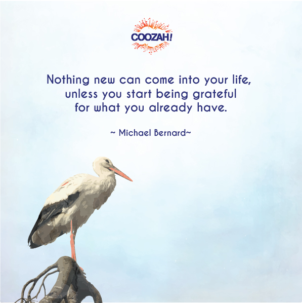 Nothing new can come into your life unless you start being grateful for what you already have