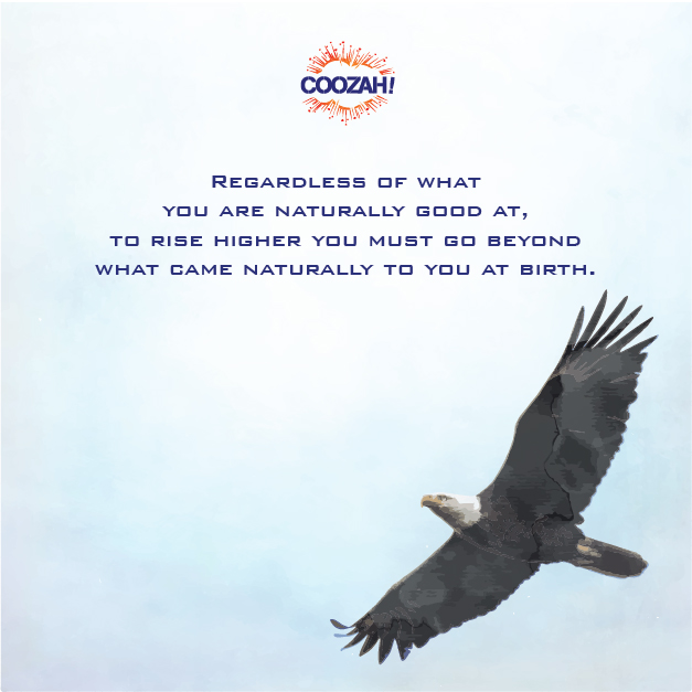 Regardless of what you are naturally good at, to rise higher you must go beyond what came naturally to you at birth.